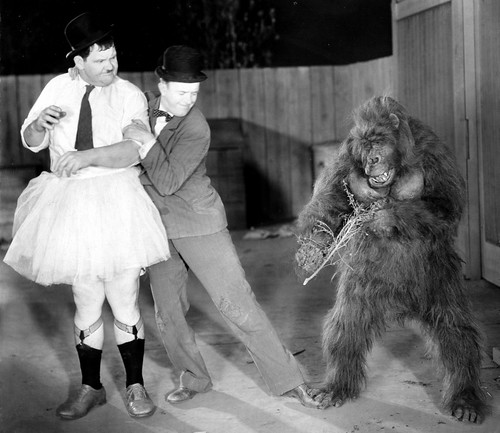THE CHIMP (1932) Laurel and Hardy with Charles Gemora as Ethel