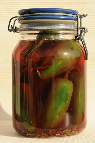 Pickled Jalapeno peppers in a jar