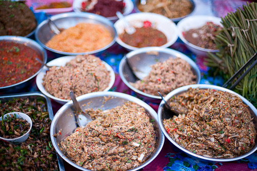 A variety of jaew, chili-based dips, at Vientiane's Ban Anou Evening Market, Laos