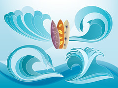 Sets of blue waves and surfing boards with flower patterns vector graphics preview (Horia Varlan) Tags: flower water leaf download gradient sets preview bluewaves surfingboard freevectorgraphics handpointer
