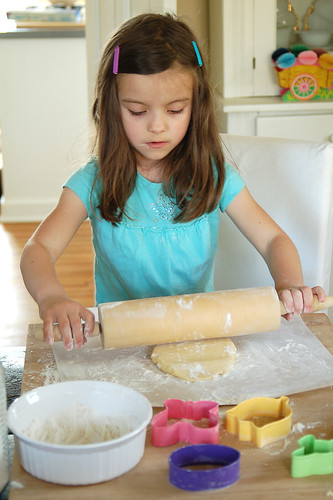 Rolling the dough.