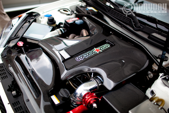 A Genesis Coupe showing off its carbon fiber components.
