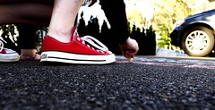 Chalk (HeyIt'sJustMe) Tags: red summer chalk spring shoes sneakers driveway converse