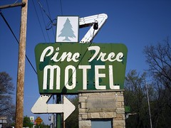 Old Motel sign Lake Geneva Wisconsin (Cragin Spring) Tags: signs tree green pine wisconsin midwest neon motel arrow pinetrees motelsign arrowsign vintagemotelsigns