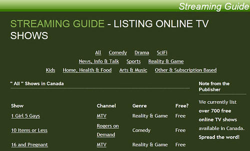 Canada Streaming Guide