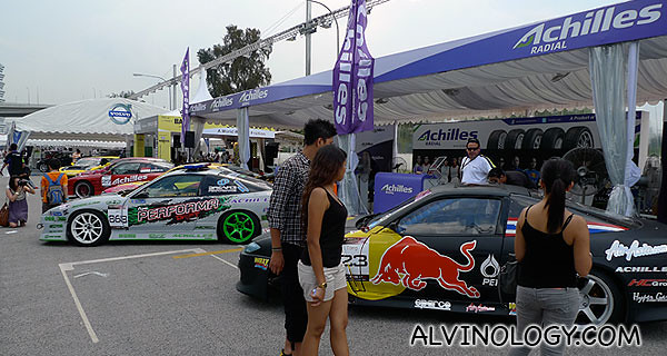 Racing cars on display