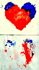 Finger Painted Hearts (mccs_10) Tags: art child childrensart hearts paper fingerpaint two red blue heart