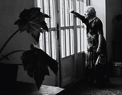 At the postoffice while hailstorm (Luba Zinevich) Tags: bw documentary armenia oldwoman yerevan genre nikond200  sigma28105mm3856  twodaysinyerevan