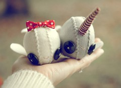 Narwhal love (Skunkboy Creatures.) Tags: love couple handmade plush whale etsy narwhal skunkboycreatures