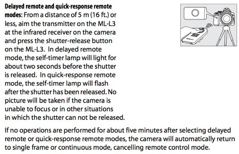 Using the ML-L3 infrared wireless remote control, as documented on pages 55, 56 and 57 of the Nikon D3000 manual