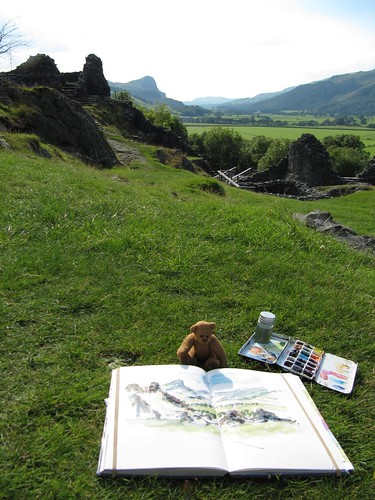 BB supervising painting at Castel y bere