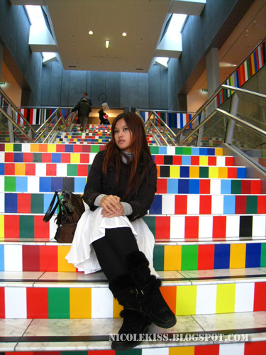 final pose on colorful stairs