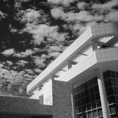 Getty Center (KYin1221) Tags: california windows sky blackandwhite bw usa white black building water stone wall architecture clouds losangeles shadows vibrant bricks artificial animated alive gettycenter fossils active kyphotography lostinlifeagain