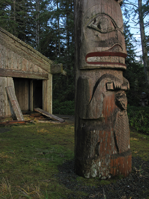 pole in front of Chief Son-i-Hat Whale House, Kasaan, Alaska