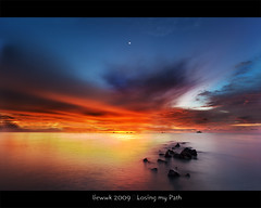 ... Losing my Path ... (liewwk - www.liewwkphoto.com) Tags: ocean sunset sun water set landscape rising coast seaside sand view magic tide salt surface hour malaysia incoming beast  klang jeram selangor  occurrence justclouds  superaplus aplusphoto theunforgettablepictures   pantaijeram  liewwk