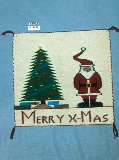 Navajo pictorial rug, Santa and Christmas tree