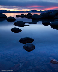 Bonsai Rock Sunset - Lake Tahoe, NV #2 (Sudheendra Kadri) Tags: longexposure winter sunset red sky lake reflection silhouette clouds fire rocks colorful nevada laketahoe bonsai tranquil sudhi sudheendrakadri bonsairocks