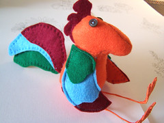 rufus the rooster (tjager) Tags: blue red orange green bird animal sewing felt softie handsewn etsy stuffie raccooncat