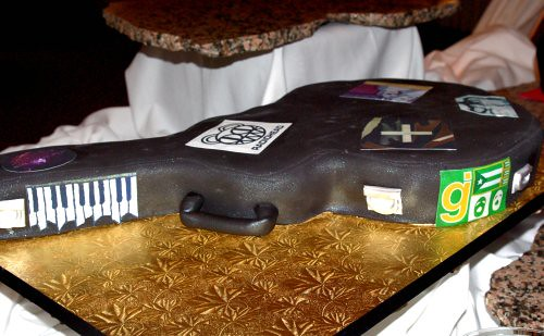 Guitar Case Cake with Edible Band Stickers GUITAR HERO WEDDING CAKE