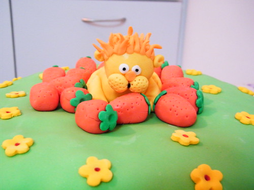 The lion who loved strawberries fondant cake for Chen 2 years birthday