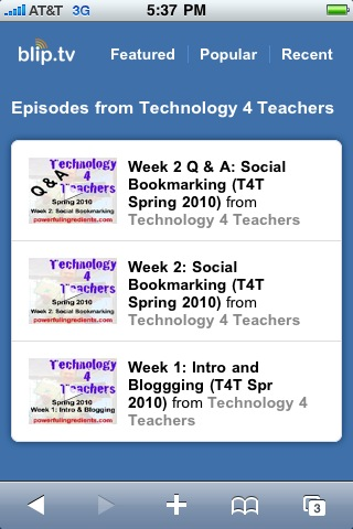 Two weeks of Lecturecasts for T4T on Blip.tv