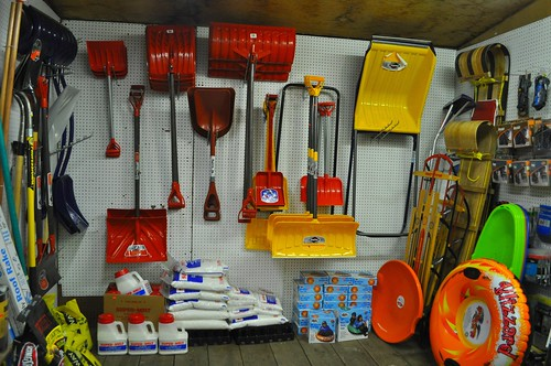 Shovel & Snow Supplies At General Store