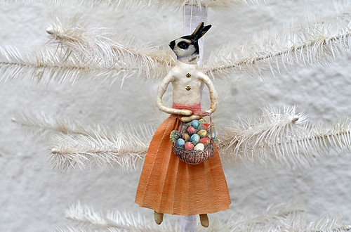 Spun Cotton Easter Bunny Ornament by oldworldprimitives