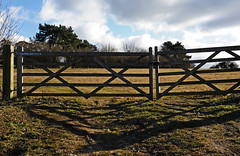 Gated and locked (Nikonsnapper) Tags: shadow sky field 50mm nikon gate farm nikkor locked fifty nifty d700 525of2010 project36612010