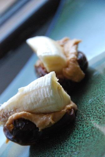 medjool dates,peanut butter,bananas