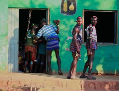 Time to drink (ingetje tadros) Tags: africa street family blue boy red portrait house man men green boys face painting restaurant different close body embroidery african unique south group culture streetphotography makeup streetlife jewelry skirt tribal clothes passion omovalley ethiopia ethnic tribo ethiopian omo thiopien etiopia ethiopie etiopa  etiopija ethnie ethiopi  etiopien etipia travelphotographer  etiyopya          dimeka2010hamar ingetjetadros travelbannatribe