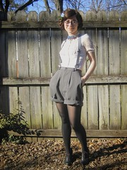 some handmade shorts, man glasses, and a bow tie (bloomingleopold) Tags: fashion wardroberemix vintage blog spring outfit nashville bowtie tights target thriftstore suspenders hm vintageglasses manglasses ruffleblouse hairflowers highwaistedshorts laceupheels bloomingleopold