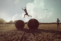 This is not real... (andrew.stichbury.) Tags: sky field manipulated jumping twilight farm meadow hay samkellick sarahstichbury