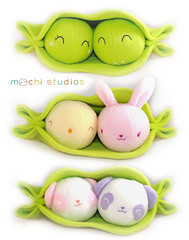 New Spring Pea Pods (mochistudios) Tags: pink rabbit bunny green yellow ball panda purple chick plush softie round plushie fleece softtoy peapod peasinapod stuffie peapods