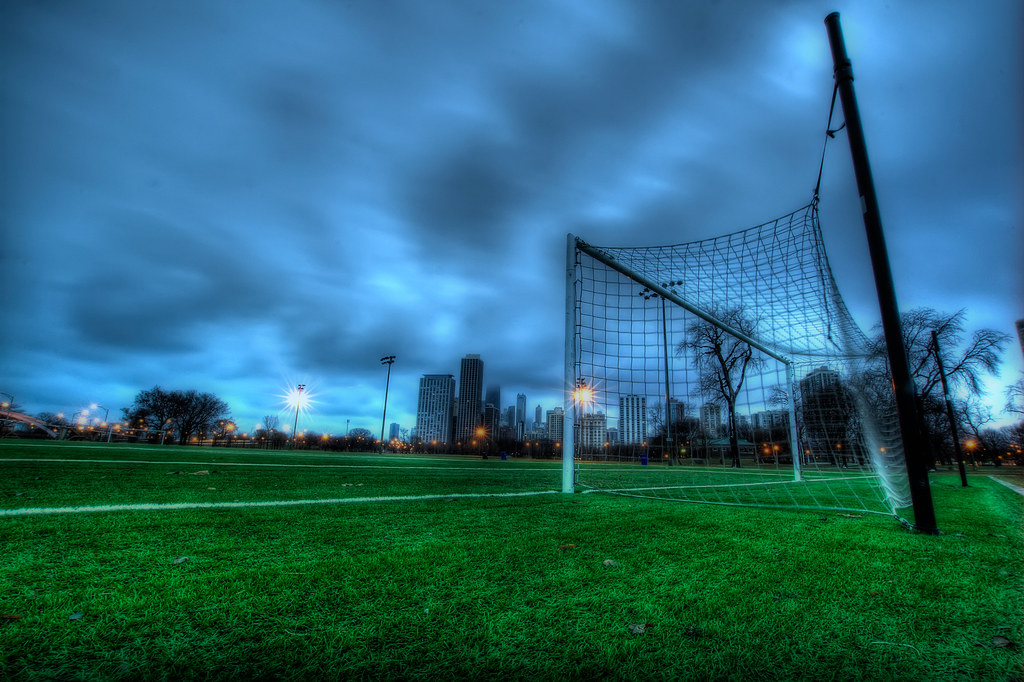 A soccer field in Lincoln Park.