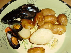 Belgian Mussels with Fingerling potatoes