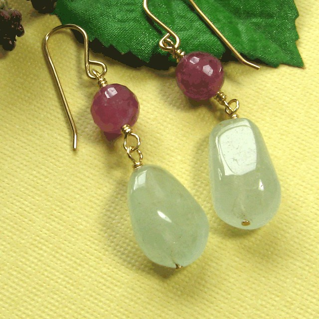 Basic aquamarine nugget and natural ruby handmade dangle earring on gold fill by cdnallie