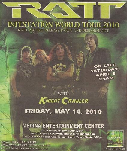 05/14/10 Ratt/Knight Crawler @ Medina, MN (Ad)