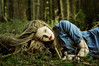 little blue [Explore Front Page] (laura zalenga) Tags: blue girl beautiful forest hair woods little sister expression alice surreal blond lipstick ©laurazalenga evazalenga