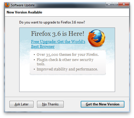 Firefox upgrade offer window