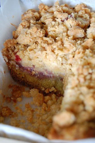 Rhubarb and Strawberry Crumb Cake