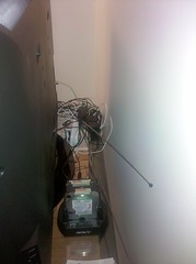 The wire mess behind my TV