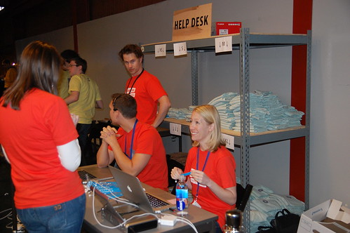 Eventbrite founders Kevin and Julia at the help station