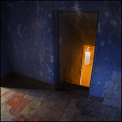 What Carter saw (David (UK) - Gone) Tags: door blue france statue frame blueroom nested floortiles artexhibition languedocroussillon caunesminervois abbeyofstpeteradstpaul