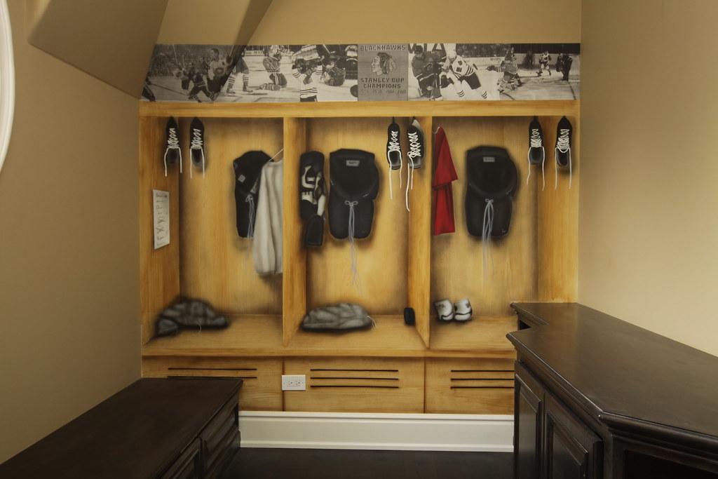 Hockey locker room back wall