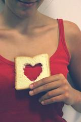 Hungry of Love (Ai in Technicolor) Tags: friends red love girl smile bread donna hands heart body toast fingers mani sorriso feeling pane amici rosso cuore amore dita corpo heartbeat sentimento
