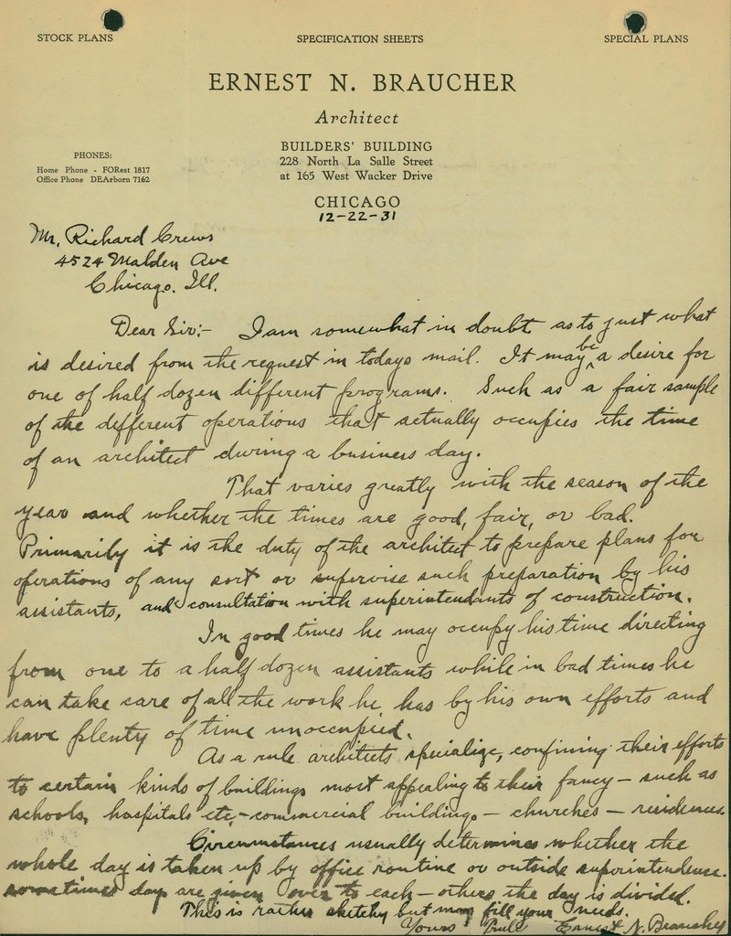 Letter from Ernest N. Braucher