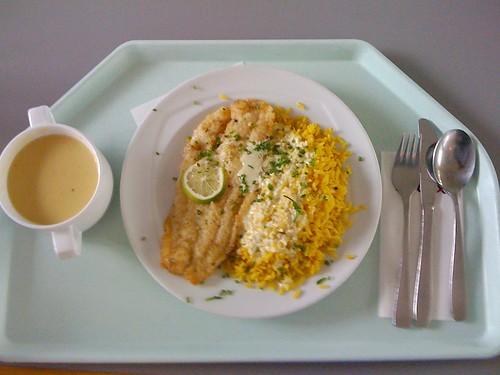 Pangasiusfilet mit Curryreis