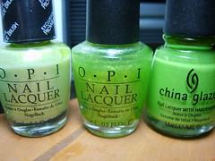 Light Greens (ballekarina) Tags: nail polish
