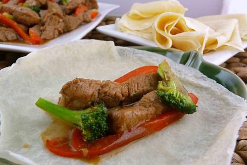 Ginger Crepes with Stir-Fried Hoisin Pork & Vegetables Recipe