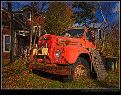 Some Autumn Leaves... Oh yeah, and an old truck :-) (Dave the Haligonian) Tags: old autumn canada fall leaves truck coast novascotia farm east maritime mack annapolisvalley canning 1965 kentville sigma1020mm westville nothdr copyrightallrightsreserved nikond90 dsc1059 davidsaunders davethehaligonian someautumnleavesohyeahandanoldtruck exit15offhighway101